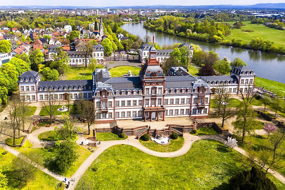 Aerial view, Philippsruhe Castle, Hanau, Hesse, Germany, Europe