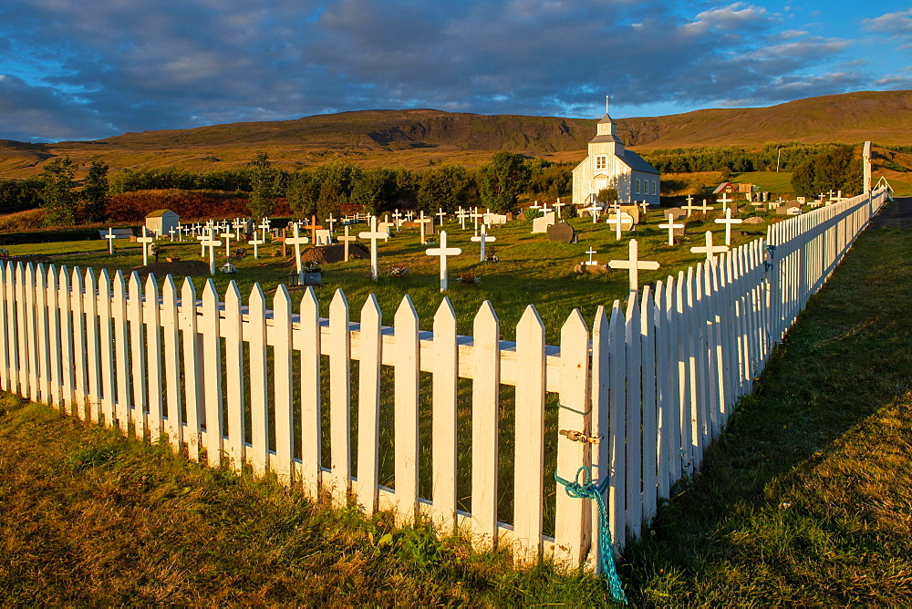 Church and cemetery, Hvammstangi, Westfjords, Northwest Iceland, Iceland, Europe