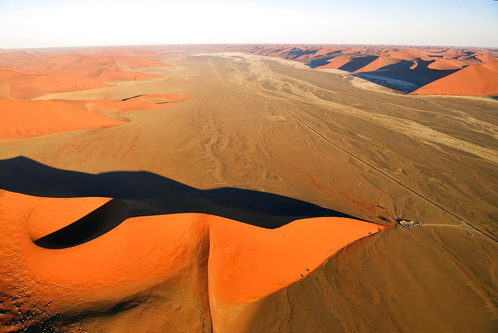 Aerial view, Dune 45, Sossusvlei, Namib-Naukluft National Park, Namibia, Africa