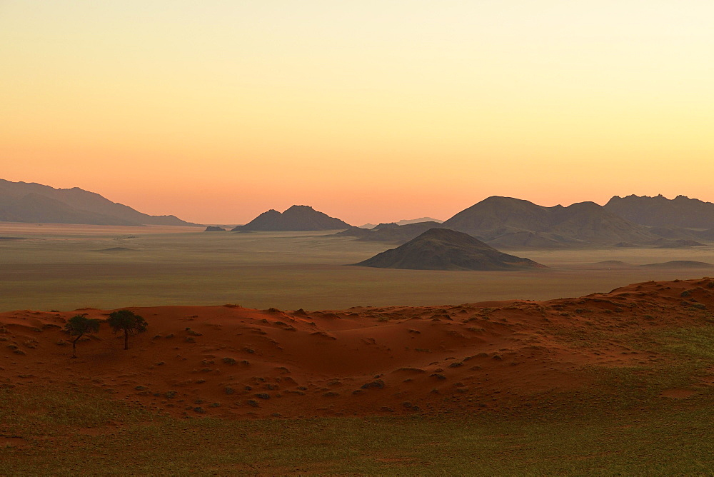 Landscape in the soft evening light at the edge of the Namib Desert, NamibRand Nature Reserve, Namibia, Africa