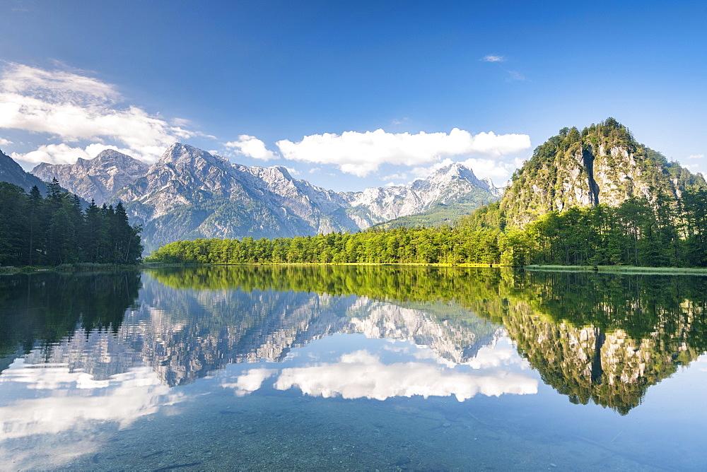 Almsee with reflection, Totes Gebirge, Gruenau, Almtal, Salzkammergut, Upper Austria, Austria, Europe - 832-388150