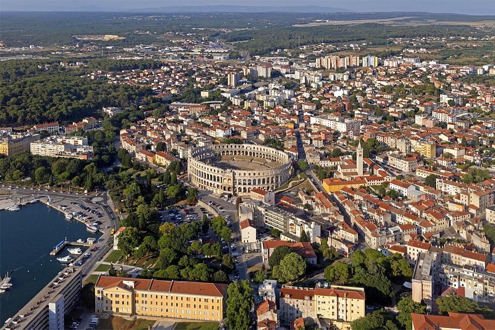 Aerial view, Pula, Istria, Croatia, Europe