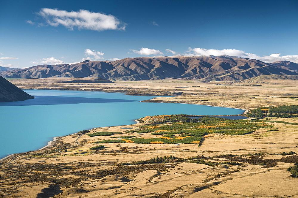 View over the turquoise Lake Ohau, Twizel, Canterbury, New Zealand, Oceania
