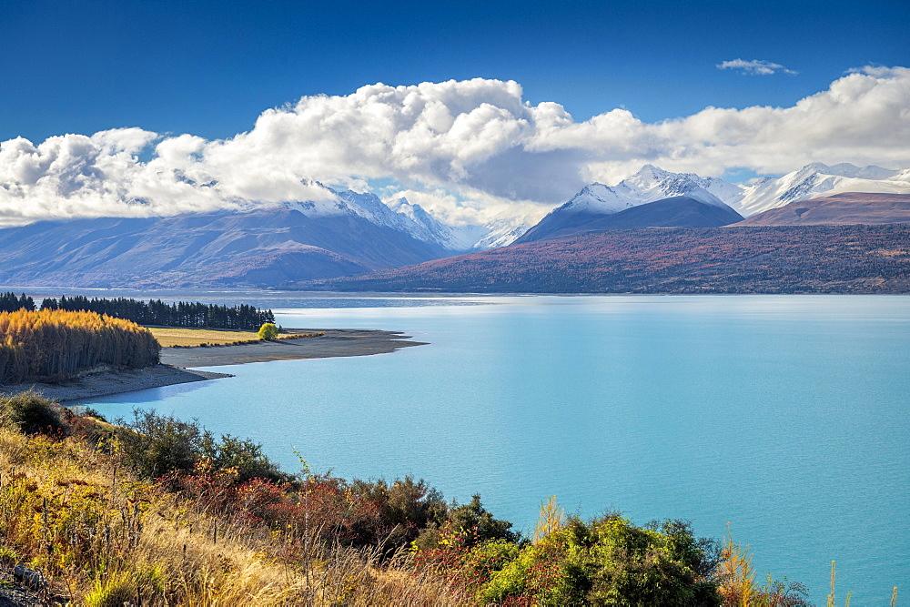 Lake Pukaki, Mount Cook Road Area, Aoraki, Mount Cook, Twizel, Canterbury, New Zealand, Oceania