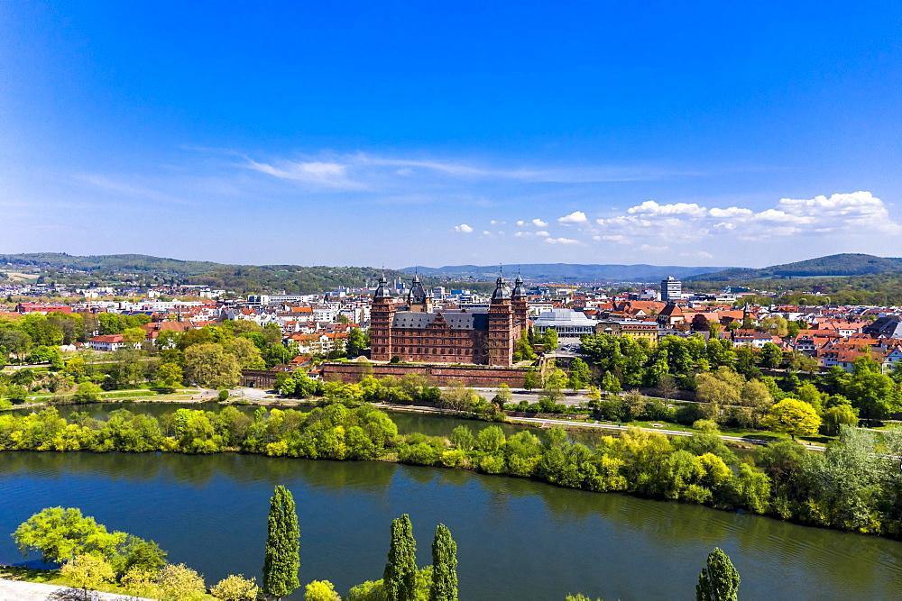 Aerial view, Johannisburg Castle, Renaissance Castle, Aschaffenburg, Lower Franconia, Franconia, Bavaria, Germany, Europe