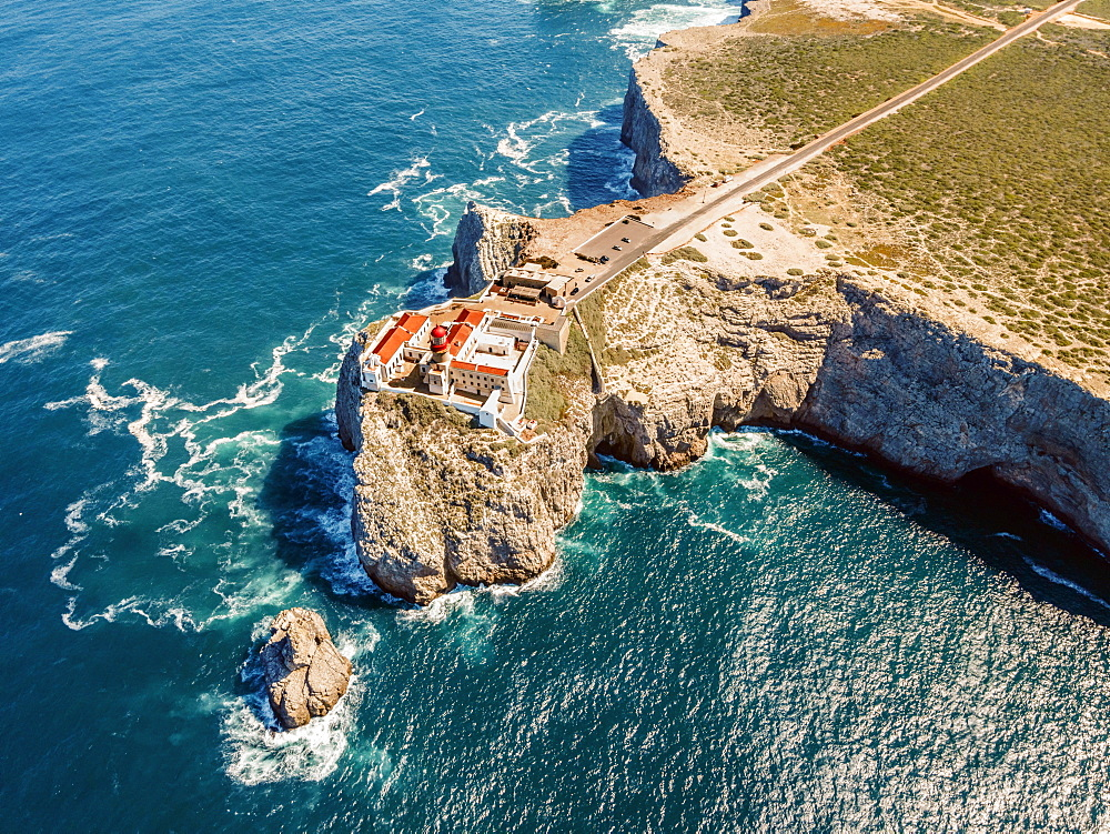 Aerial view, lighthouse on the cliffs, Saint Vincent Cape, Sagres, Algarve, Portugal, Europe