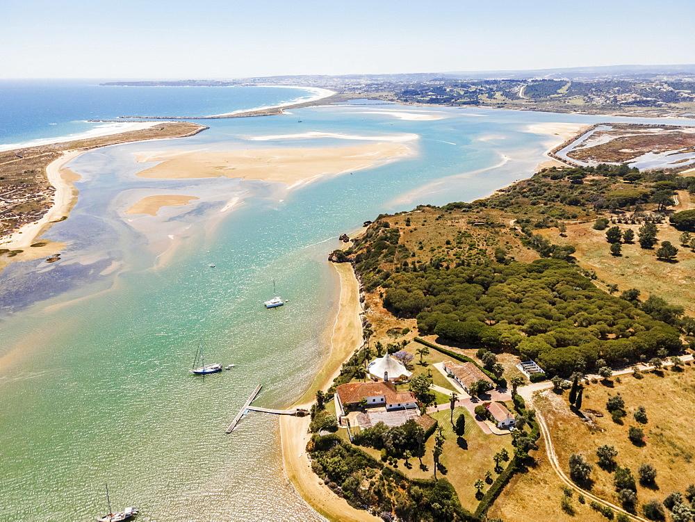 Aerial view, bay with sandbanks, Alvor, Algarve, Portugal, Europe