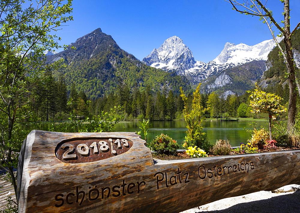 Schiederweiher, in front of the mountains Grosser tidal creek and Spitzmauer, Totes Gebirge, Hinterstoder region Pyhrn-tidal creek, Pyhrn-Eisenwurzen, Totes, Traunviertel, Upper Austria, Austria, Europe