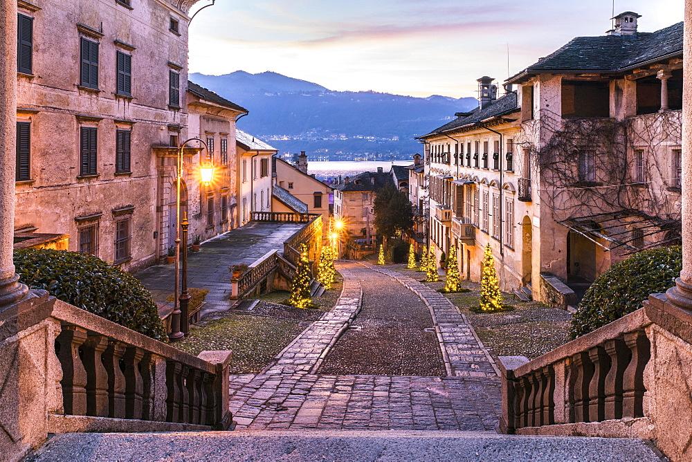 View from the church Santa Maria Assunta on the Via Albertoletti, Orta San Giulio, Lago d'Orta, Province of Novara, Piedmont, Italy, Europe