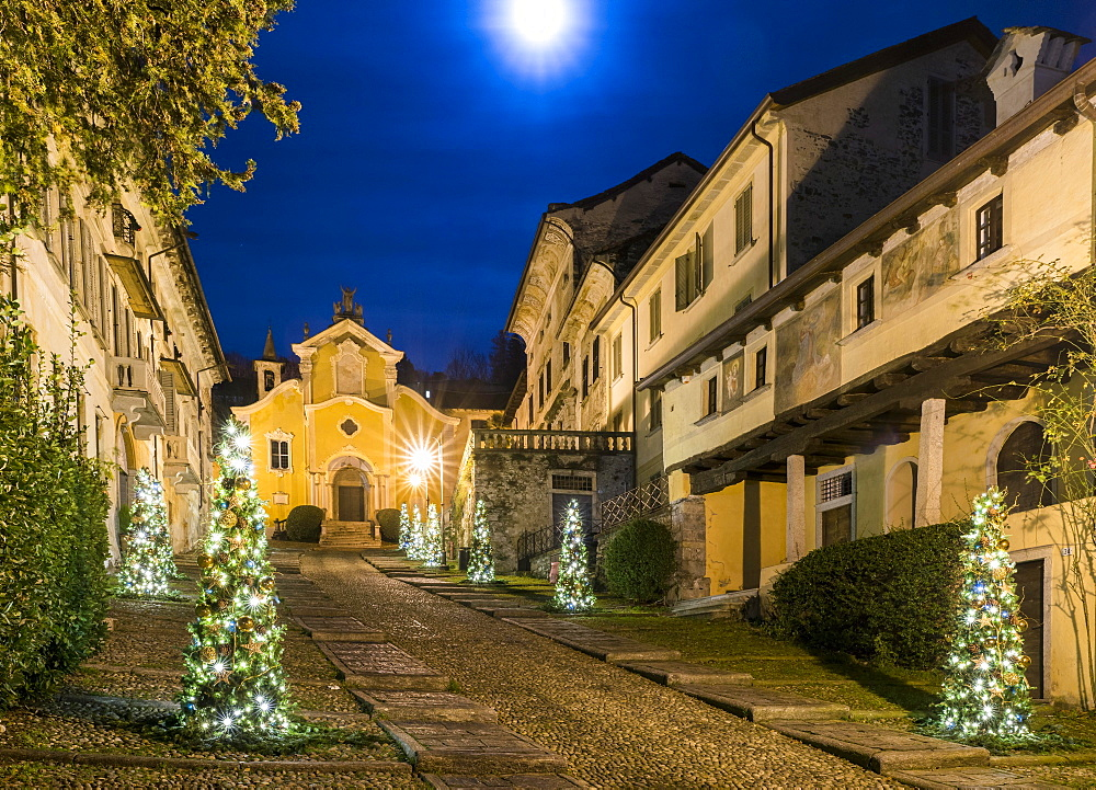 The Via Albertoletti with the Church of Santa Maria Assunta, Orta San Giulio, Lago d'Orta, Province of Novara, Piedmont, Italy, Europe