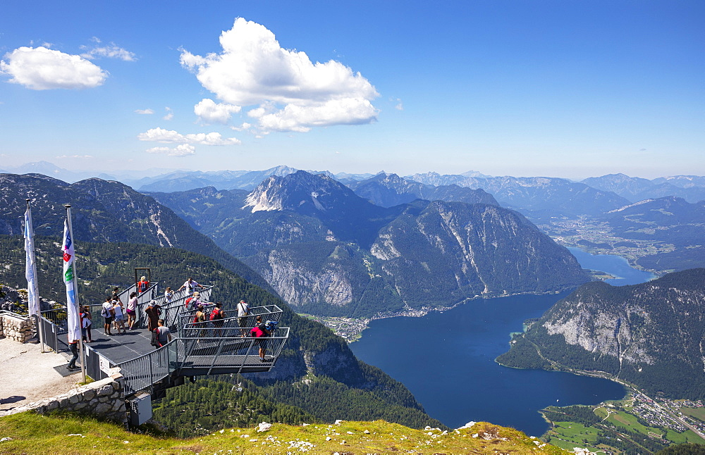 View from the Five Finger viewpoint to Lake Hallstatt, Krippenstein, Obertraun, Hallstatt, Salzkammergut, Upper Austria, Austria, Europe