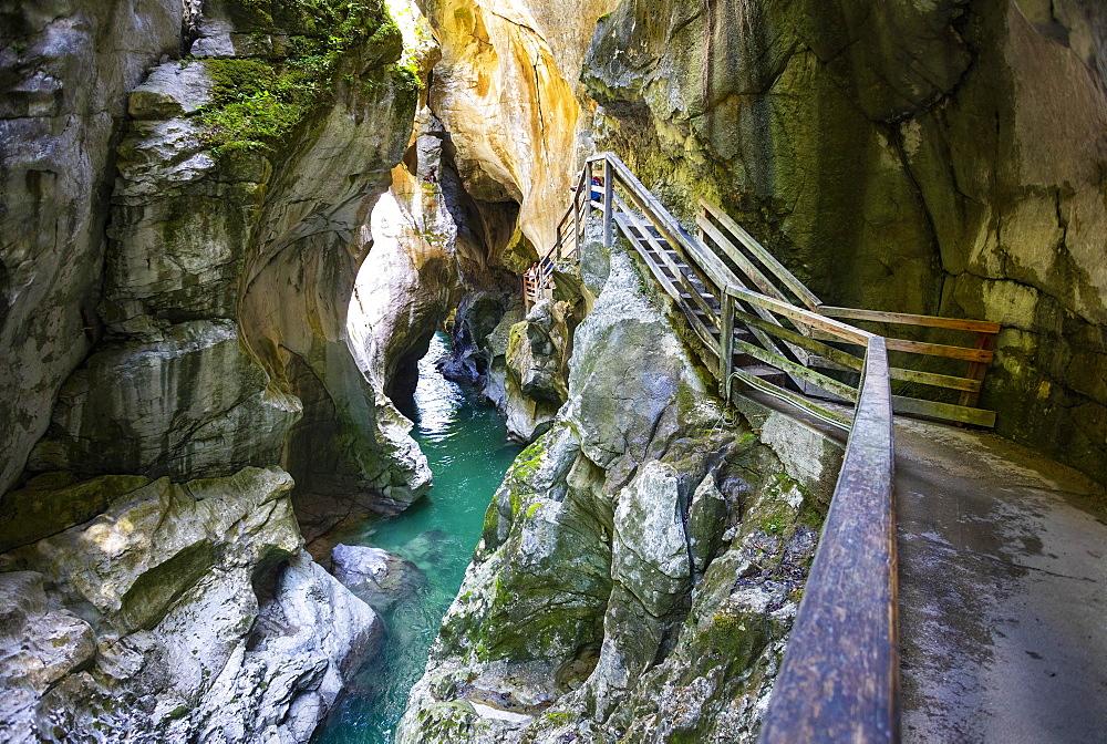 Climbing facility in the dark gorge, Lammeroefen, Lammerklamm, River Lammer, Scheffau, Tennengebirge, Salzburger Land, Province of Salzburg, Austria, Europe - 832-388513