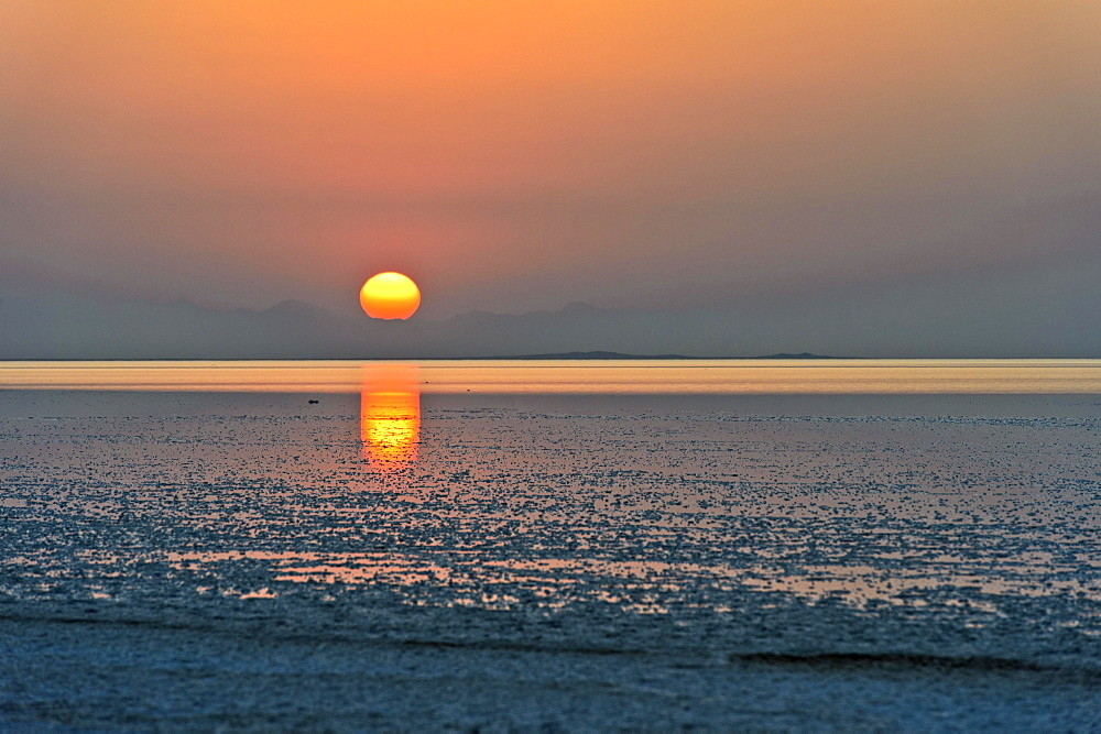 Sunrise over the Assale Salt Lake, Hamadela, Danakil Depression Afar Dreick, Ethiopia, Africa