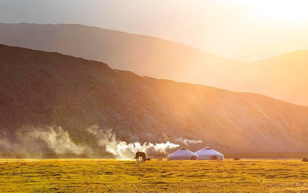 Summer evening in mount Tsambagarav summer camp. Bayan-Ulgii province. Mongolia