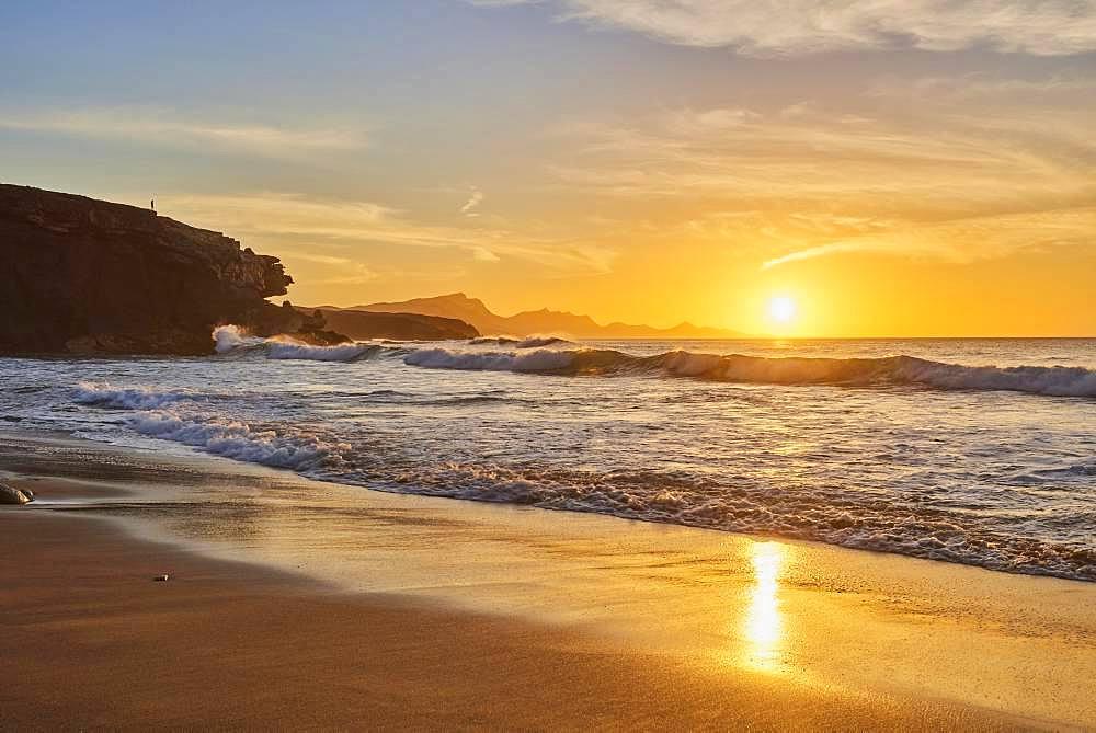 Beach Playa de la Pared at sunset, Fuerteventura, Canary Islands, Spain, Europe