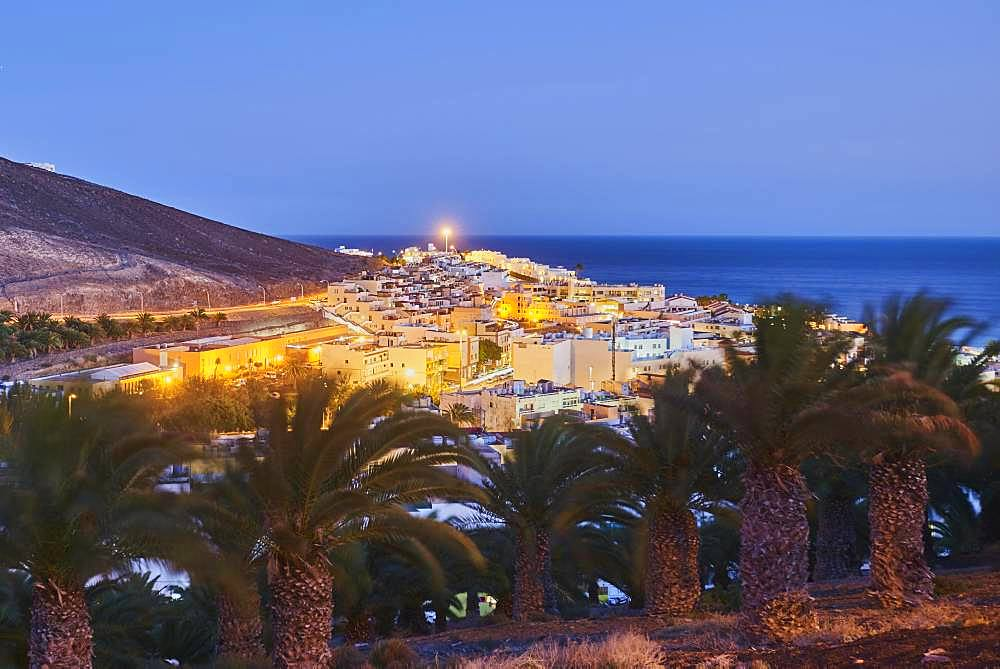 View of Morro Jable in the blue hour, Fuerteventura, Canary Islands, Spain, Europe