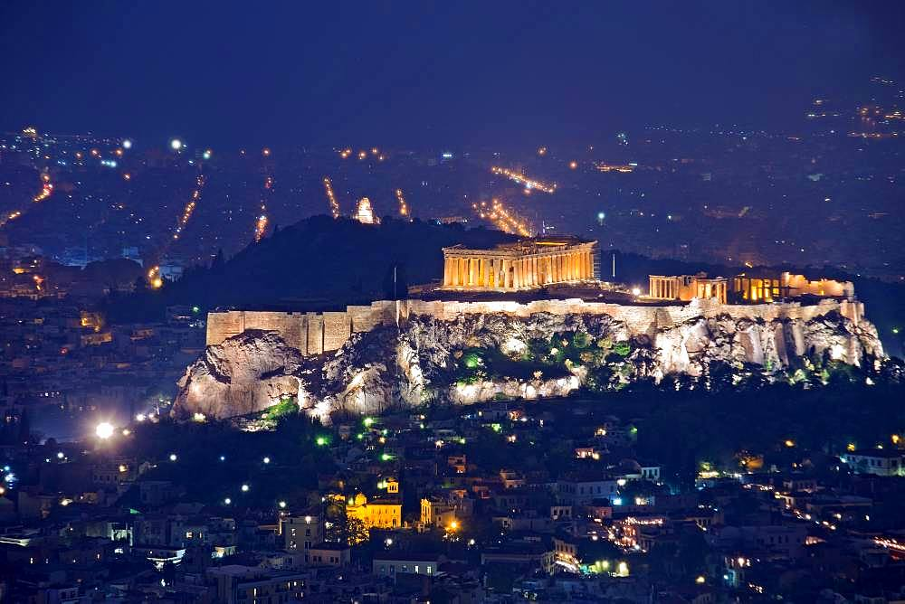 Acropolis in the night-time setting, panoramic view, Athens, Greece, Europe