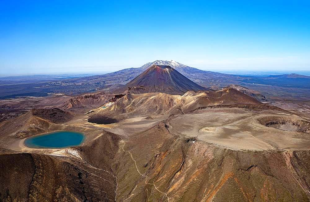 Aerial view, Blue Lake in front, Mount Ngauruhoe and Ruapehu in the back, Tongariro National Parks, North Island, New Zealand, Oceania - 832-388592