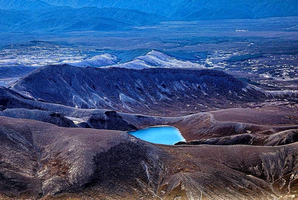 Aerial view, Upper Tama Lake, Tongariro National Park, North Island, New Zealand, Oceania
