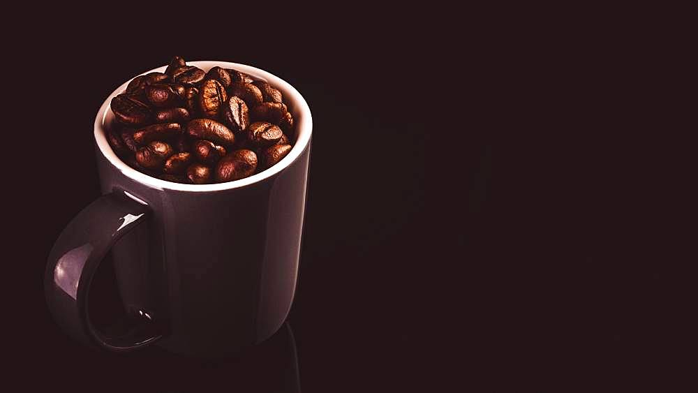 Brown espresso cup with coffee beans, black background, studio shot, Austria, Europe