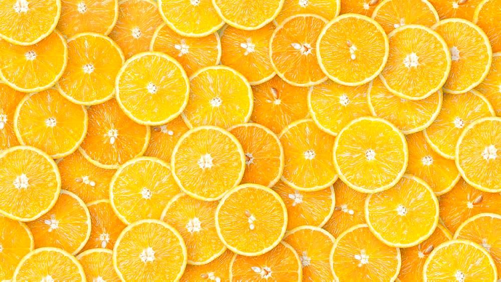 Oranges in slices, organic farming, background image, Austria, Europe - 832-388621