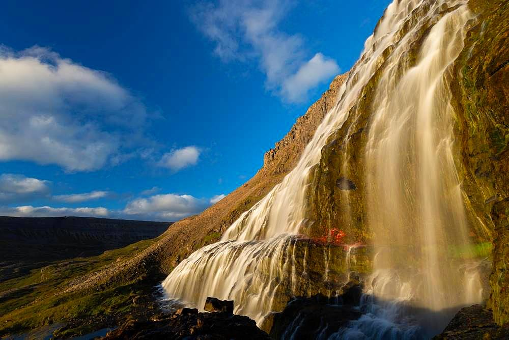 Dynjandifoss or Fjallfoss, largest waterfall of the Westfjords, Northwest Iceland, Iceland, Europe