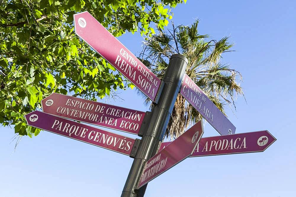 Signposting in the historic centre of Cadiz, Spain, Europe