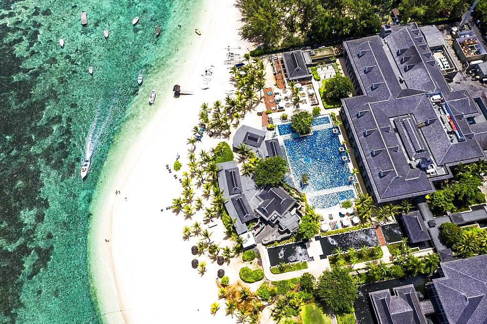Aerial view, Berg le Morne, with luxury hotel LUX Le Morne Resort, Mauritius, Africa - 832-388818
