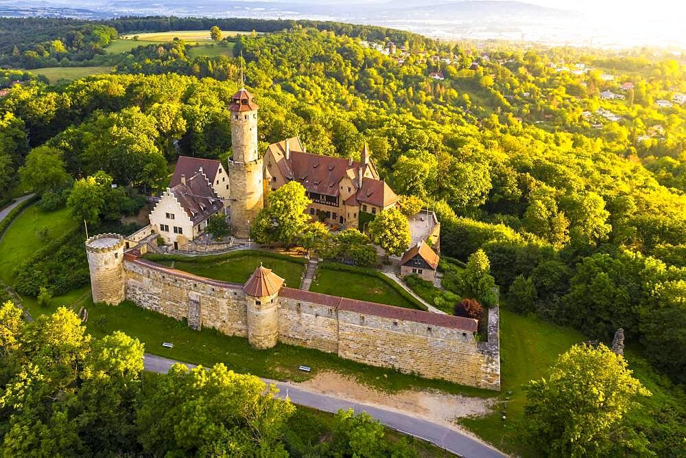 Drone photo, Altenburg, medieval hilltop castle, Bamberg, Steigerwaldhoehe, Upper Franconia, Franconia, Germany, Europe