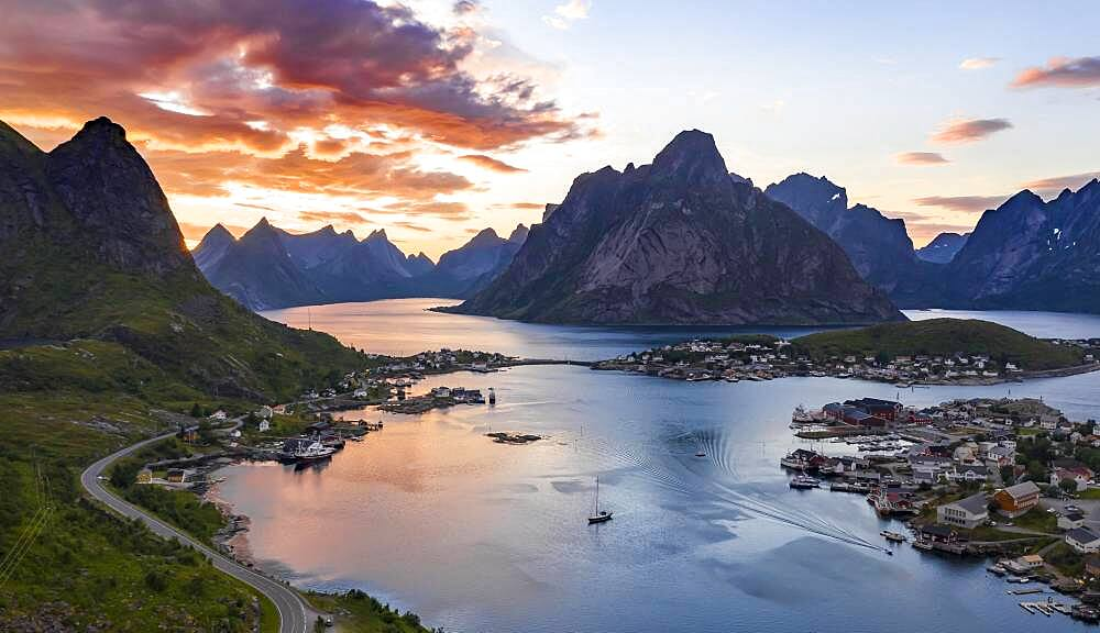 Aerial view, sunset at Reinefjord with mountains, view of Reine, Lofoten, Nordland, Norway, Europe - 832-388867