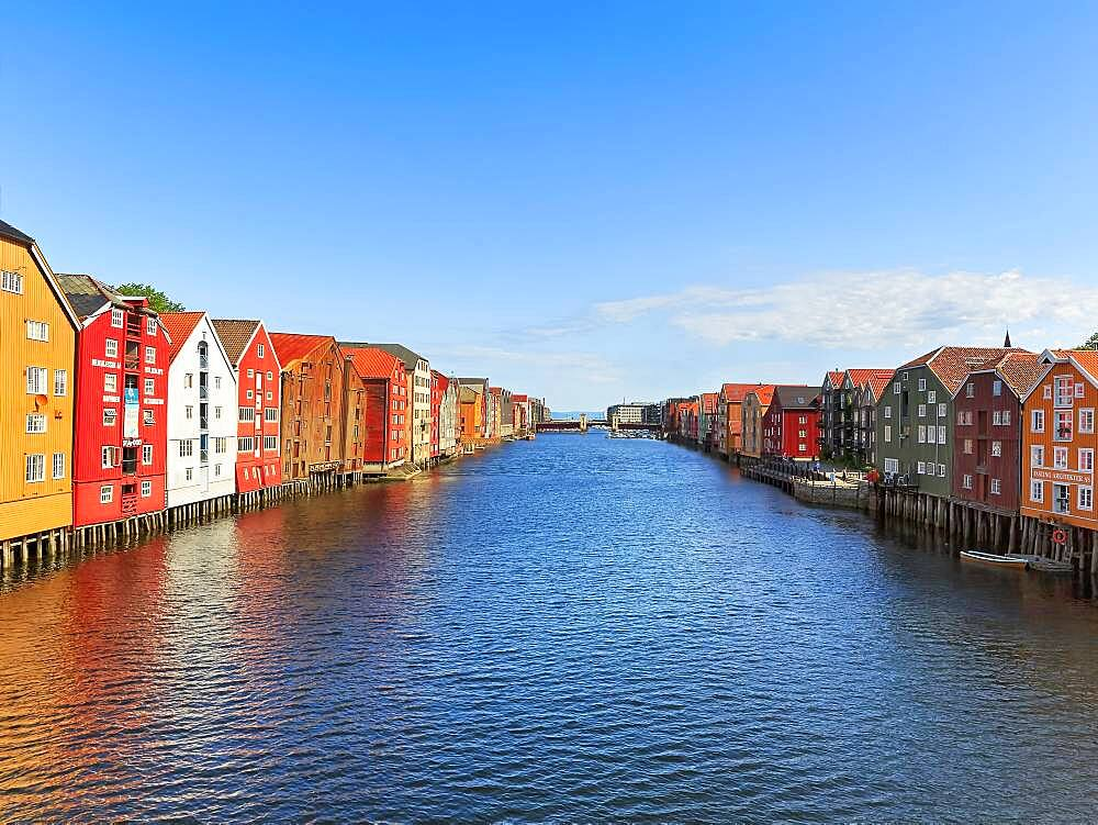 Colourful historic warehouses by the river Nidelva, Trondheim, Trondelag, Norway, Europe - 832-388985