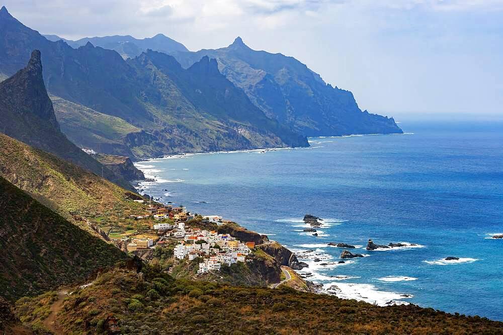 Coastal road with cliffs near the village of Almaciga, Anaga Mountains, Tenerife, Canary Island, Spain, Europe - 832-389337