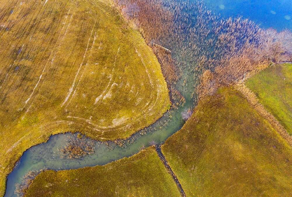 Natural course of the Zellerache river from the Irrsee, wet meadow, from above, drone photo, aerial view, Mondseeland, Salzkammergut, Upper Austria, Austria, Europe - 832-389618