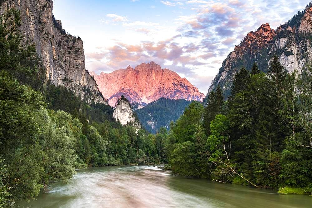 Entrance to the Gesaeuse in the evening, river Enns, Grosser Oedstein in the background, Hochtor, Hochtor Group, Gesaeuse National Park, Styria, Austria, Europe - 832-389780