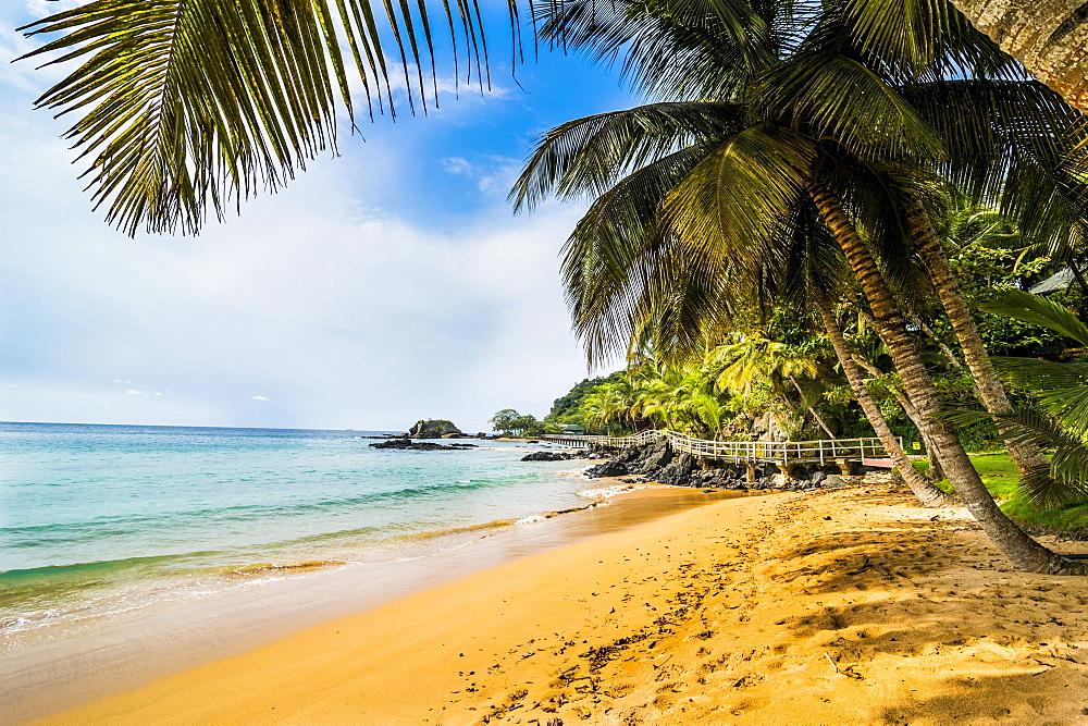 Beautiful beach in the Bom Bom Resort, Unesco Biosphere reserve, Principe, Sao Tome and Principe, Atlantic Ocean, Africa - 832-389893