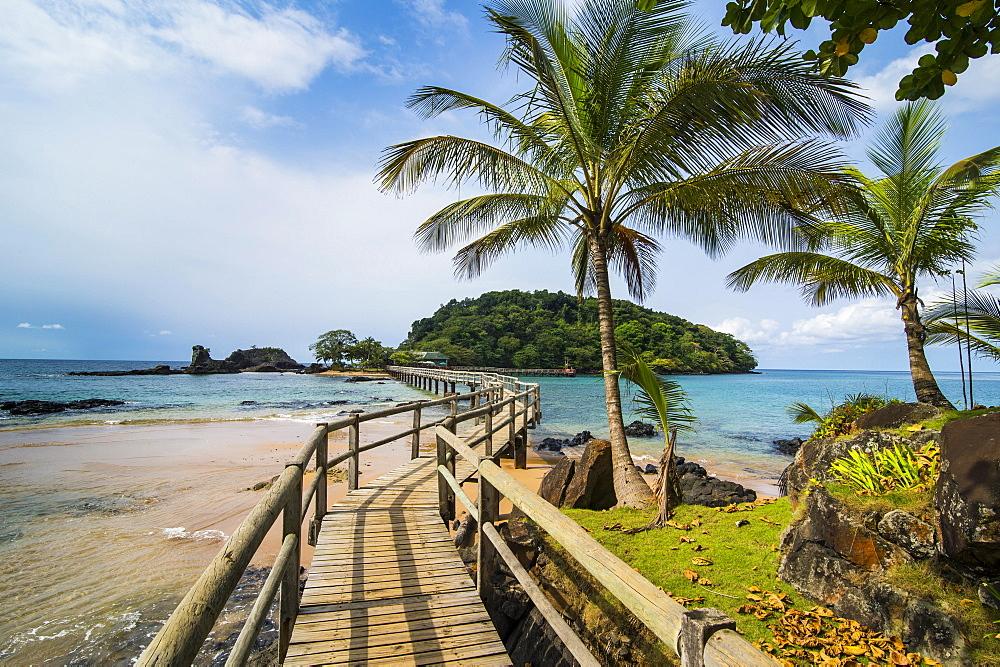 Long wooden pier in the Bom Bom Resort, Unesco biosphere reserve, Principe, Sao Tome and Principe, Atlantic Ocean, Africa - 832-389894