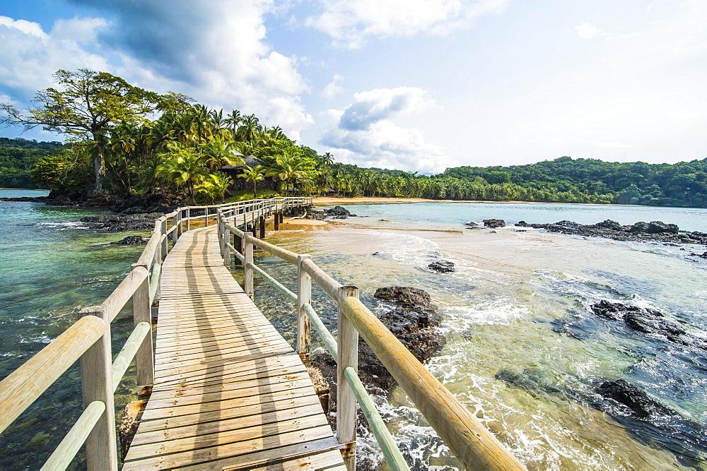 Long wooden pier in the Bom Bom Resort, Unesco biosphere reserve, Principe, Sao Tome and Principe, Atlantic Ocean, Africa - 832-389895