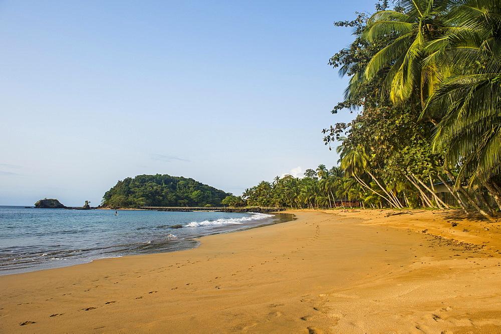 Beautiful beach in the Bom Bom Resort, Unesco Biosphere reserve, Principe, Sao Tome and Principe, Atlantic Ocean, Africa - 832-389896