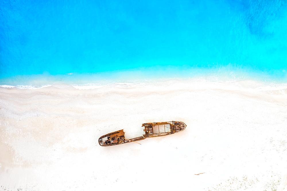 Beach shipwreck Navagio Beach drone shot bird's eye view, Zakynthos, Greece, Europe - 832-390443