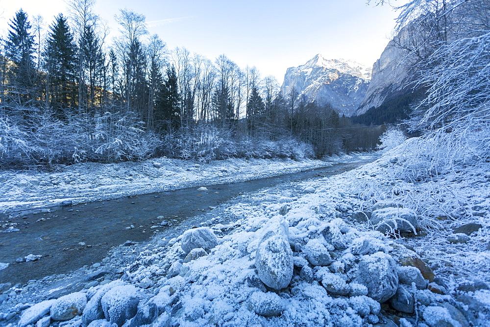 The Wetterhorn and frosted river, Grindelwald village, Jungfrau region, Bernese Oberland, Swiss Alps, Switzerland, Europe