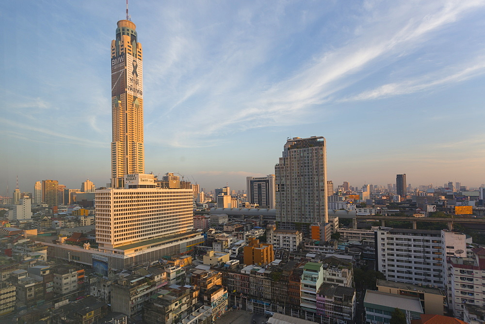 Morning view of Baiyoke Tower and city skyline, Bangkok, Thailand, Southeast Asia, Asia