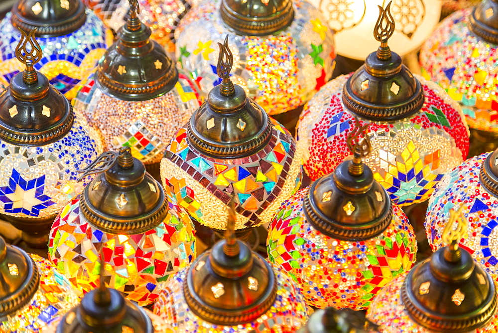 Colourful hanging lamps  on sale, Deira Souk, The Creek, Dubai, United Arab Emirates, Middle East