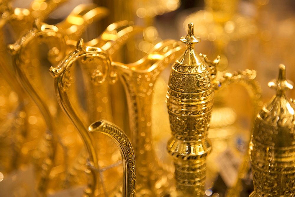 Souvenir gold plated traditional Arabic tea urns, Dubai Mall, Dubai, United Arab Emirates, Middle East