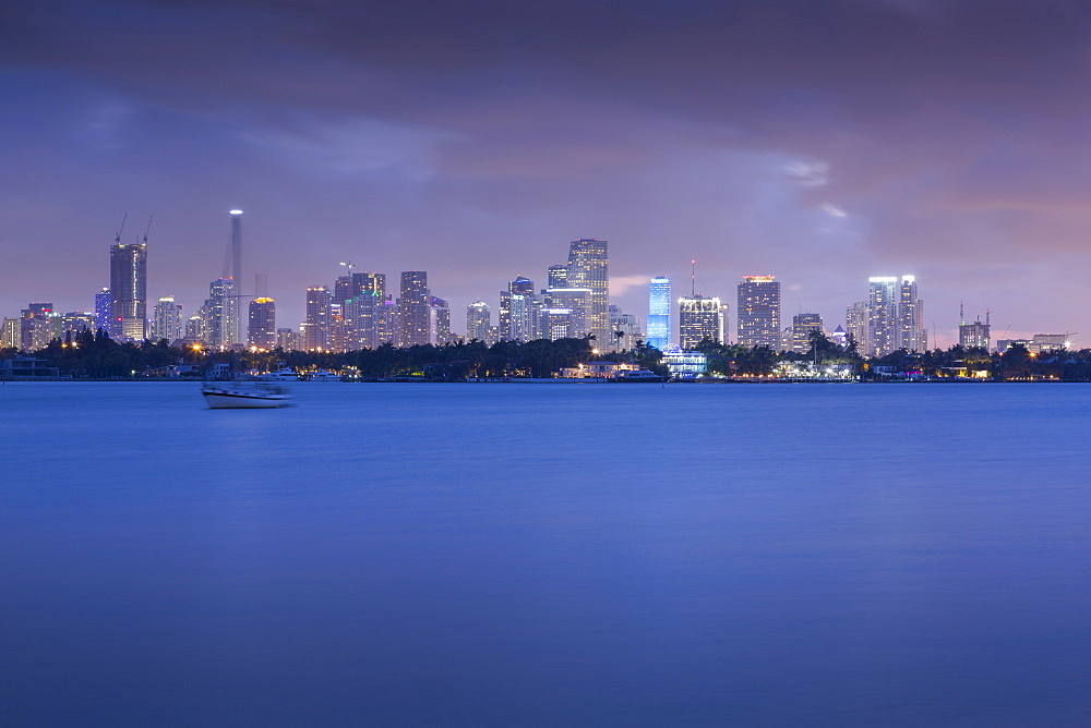 View of Downtown from South Beach at dusk, Miami Beach, Miami, Florida, United States of America, North America