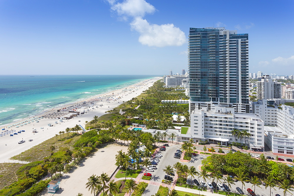 Elevated view of beach and hotels in South Beach, Miami Beach, Miami, Florida, United States of America, North America