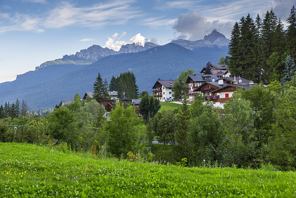 View of mountains and traditional houses surrounding, Cortina d'Ampezzo, South Tyrol, Italian Dolomites, Italy, Europe