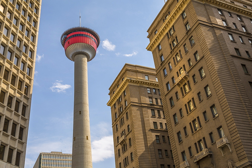 View of the Calgary Tower and nearby office buildings, Downtown Calgary, Alberta, Canada