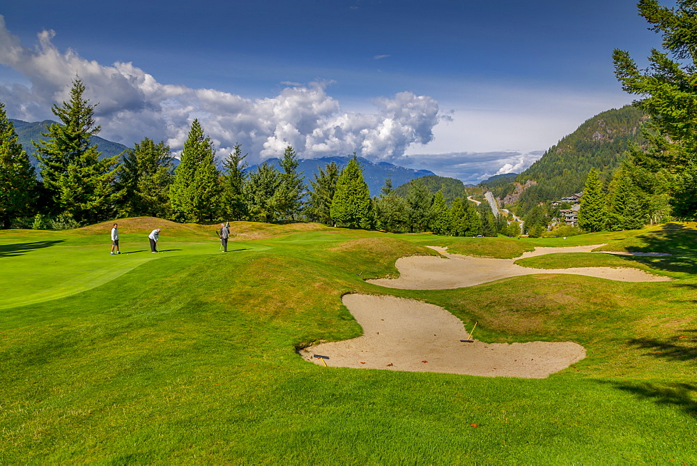 View of golf course at Furry Creek off The Sea to Sky Highway near Squamish, British Columbia, Canada, North America