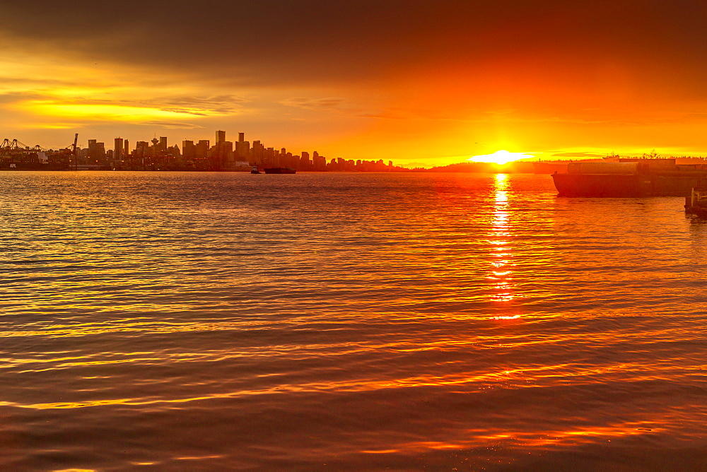 View of Vancouver Skyline from North Vancouver at sunset, British Columbia, Canada, North America - 844-14415