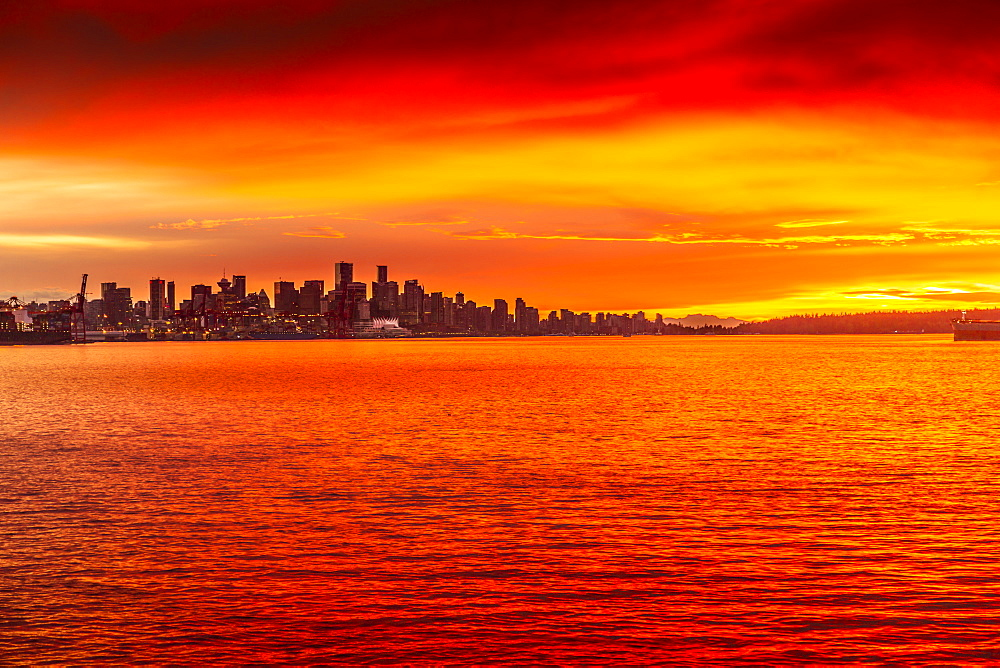 View of Vancouver Skyline from North Vancouver at sunset, British Columbia, Canada, North America - 844-14417